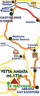 mappa del tour di bagno vignoni